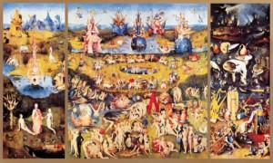 Gyönyörök kertje Hieronymus Bosch egyik legismertebb műve, triptichon, melyet Földi Paradicsomnak is hívnak. A triptichon hármas oltárkép, egy-egy behajtható szárnnyal. A két oldalszárny becsukva, a fő képet védi. A lidérces részletekben bővelkedő kép közel ötszáz éves, ám művészi kifejezésmódja nem szorítható időkeretek közé. A festmény datálása vitatott, egyes kutatók Bosch korai művei közé sorolják, ám az általában elfogadott nézet szerint kései művei sorát gyarapítja. ( https://hu.wikipedia.org/wiki/Gy%C3%B6ny%C3%B6r%C3%B6k_kertje )