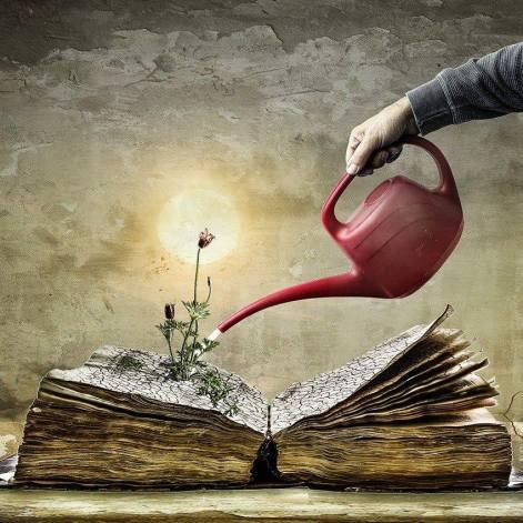 telihold, virág nő ki egy könyvből